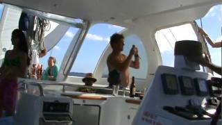 Mauritius Catamaran Trip - dancing on the board