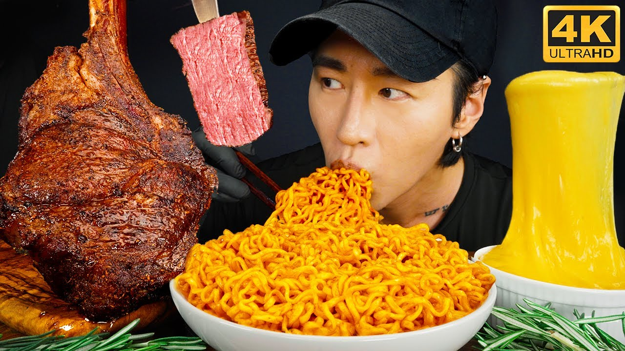 ASMR TOMAHAWK STEAK, SPICY FIRE NOODLES & STRETCHY CHEESE MUKBANG 먹방 | COOKING & EATING SOUN