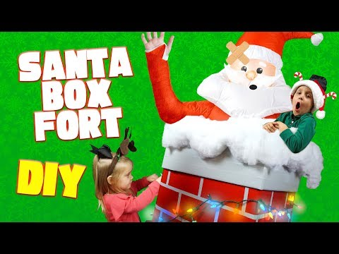 DIY Christmas Box Fort for Kids with a Giant Inflatable Santa Claus!
