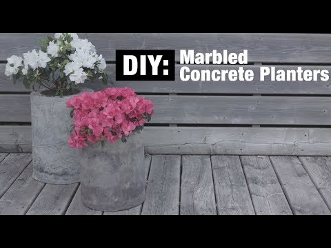 DIY: Marbled Concrete Planters