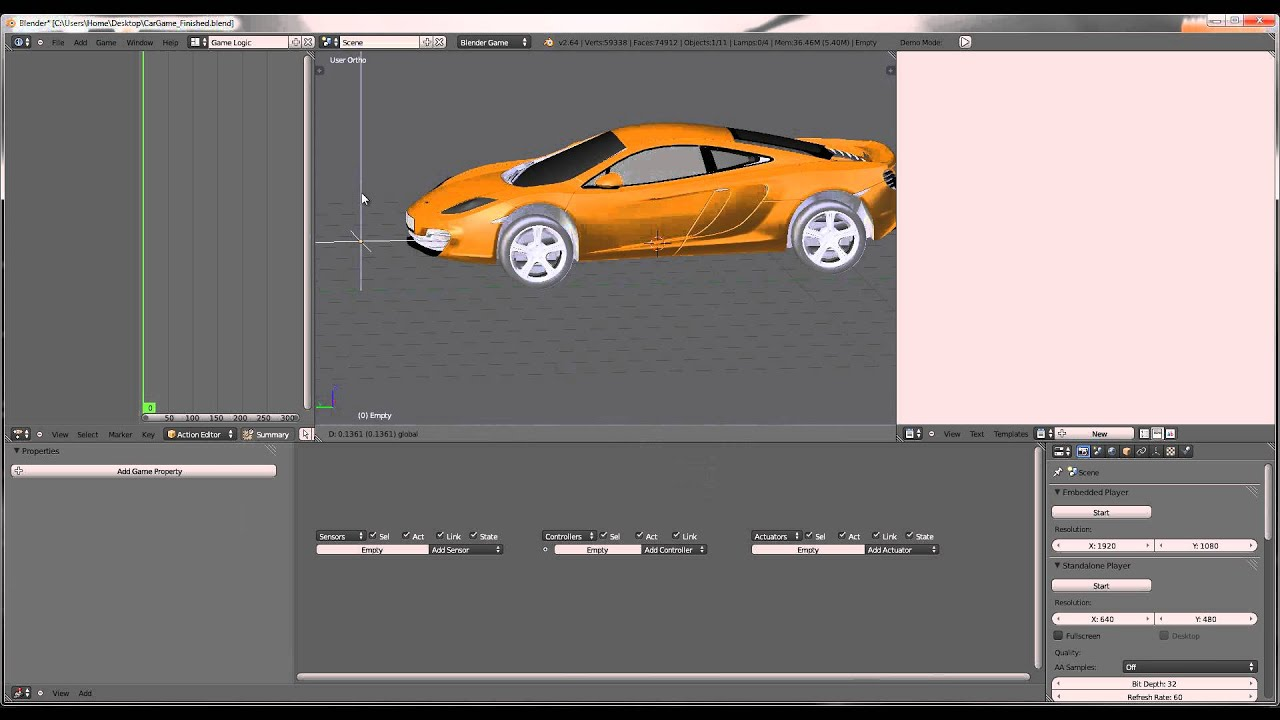 How to make a car game in blender 2 6 v2 hd youtube