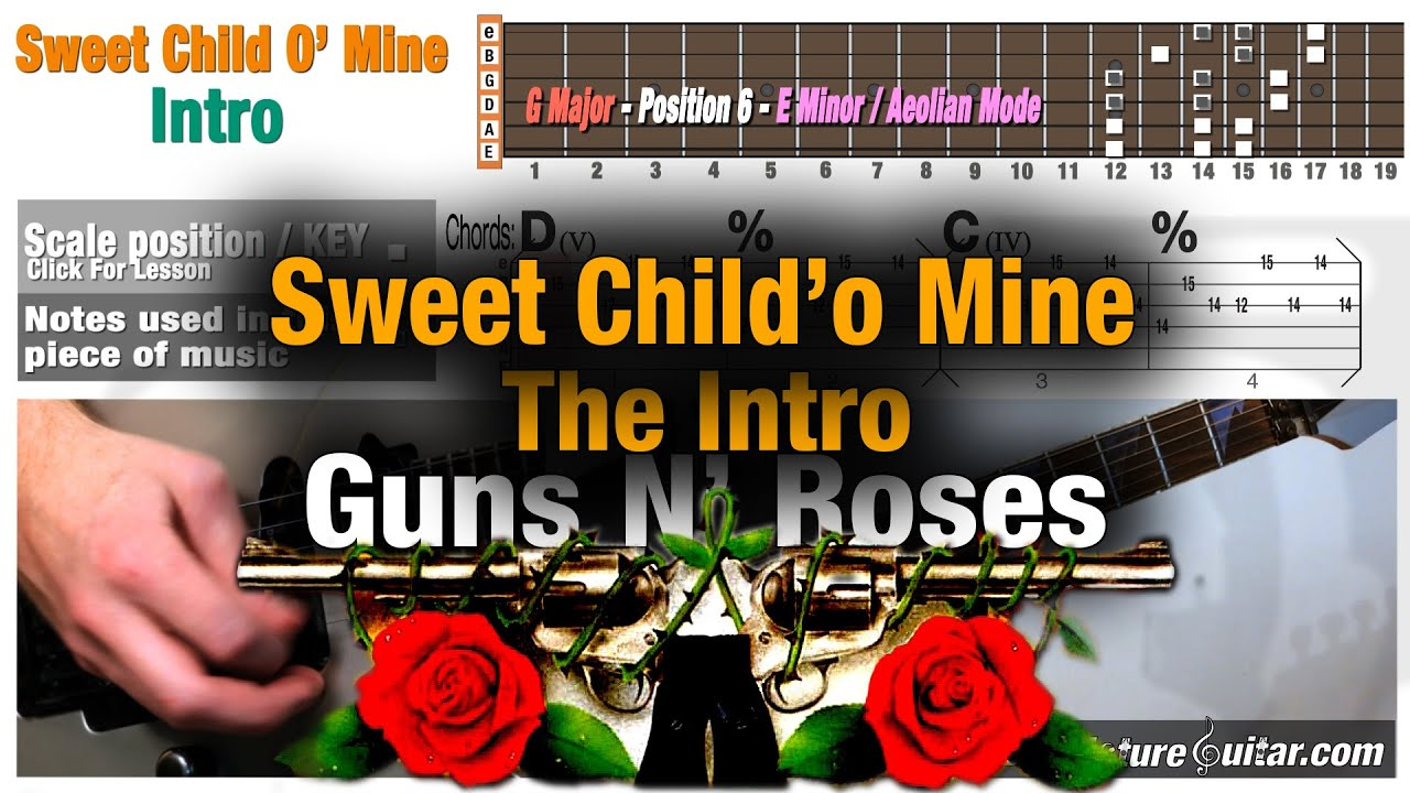 guitar lesson sweet child o 39 mine intro w animation tab music theory youtube. Black Bedroom Furniture Sets. Home Design Ideas