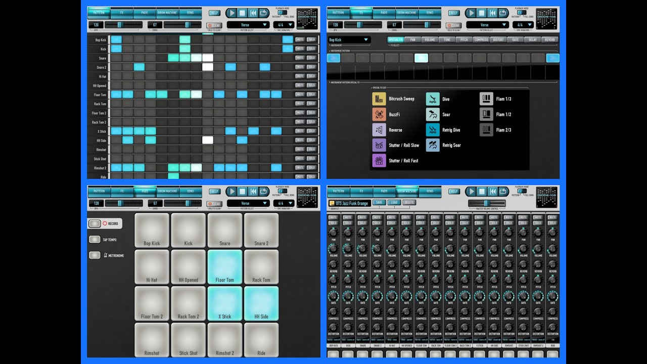 diode 108 drum machine demo and tutorial for ipad youtube. Black Bedroom Furniture Sets. Home Design Ideas