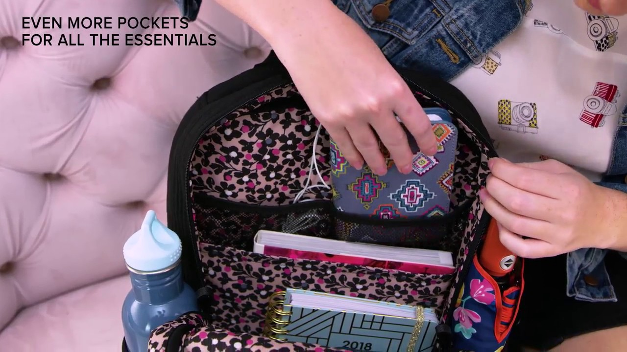 Vera Bradley Iconic Deluxe Campus Backpack - YouTube bf670502a3631