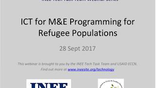 [Webinar] ICT for M&E of Education Programming for Refugee Populations