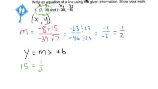 writing an equation when given 2 points on the line