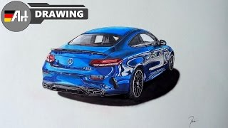 How I draw a car (Mercedes C63s AMG Coupé) - speed drawing