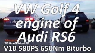 Audi Power - Volkswagen Golf 4 V10 Biturbo TFSI of Audi RS6 😳💨👏