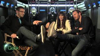 Michael Fassbender interrupts PROMETHEUS interview - Charlize Theron thinks he's drunk! thumbnail
