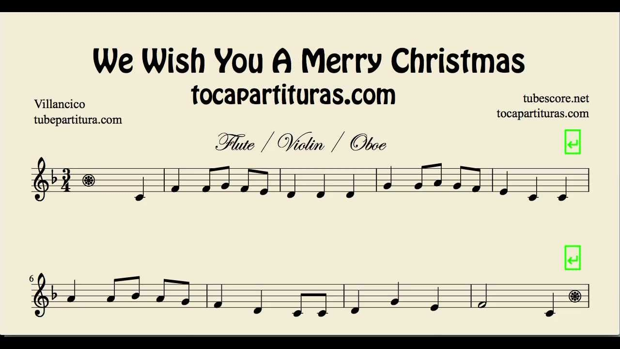 We wish you a Merry Christmas Sheet Music for Flute Violin and ...