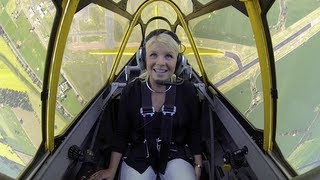 Sarah goes flying with Guy Bourke in a WWII vintage T-6 Harvard