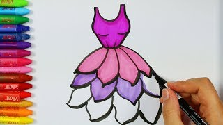 Cómo dibujar vestido púrpura💗| Página para colorear | Libros para colorear | Cómo dibujar y colorear