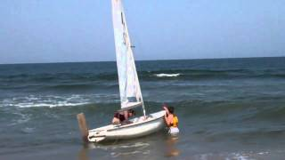 Launching Sailing Dinghy East Sands St Andrews Fife Scotland May 23rd