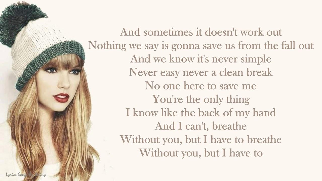 Taylor Swift Ft Colbie Caillat Breathe Lyrics Songs Youtube