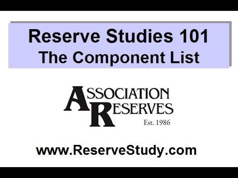 Reserve Studies 101 - The Component List (2017)