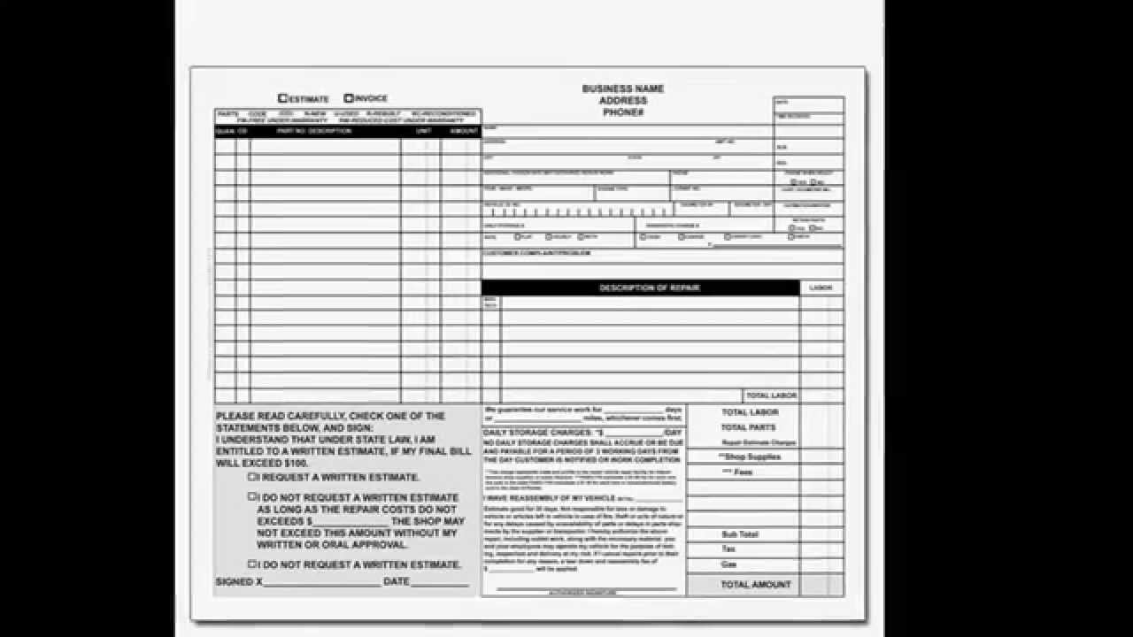 automotive repair form
