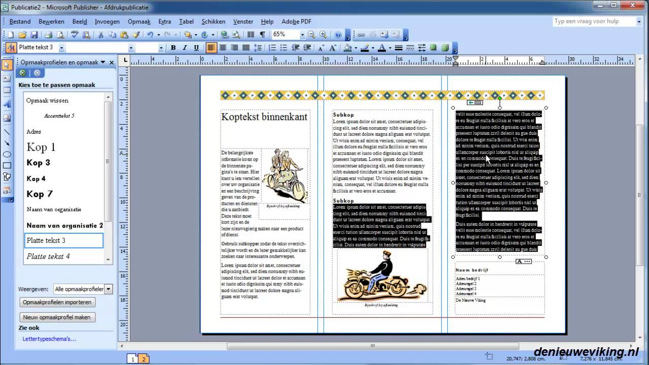 Microsoft Publisher 2003 21 Een Brochure Maken Youtube