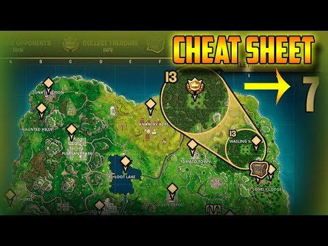 FORTNITE WEEK  CHALLENGE CHEAT SHEET! HOW TO COMPLETE ALL CHALLENGE OF WEEK !!