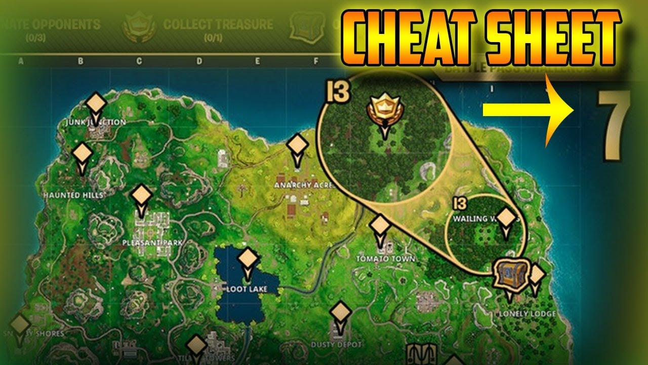 Fortnite week 4 cheat sheet season 7