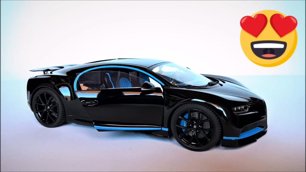 "model car custom diecast bugatti chiron ""blackue"" bburago 1 18"