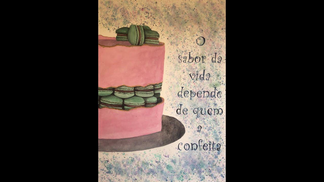 Macarrons Cake Watercolor