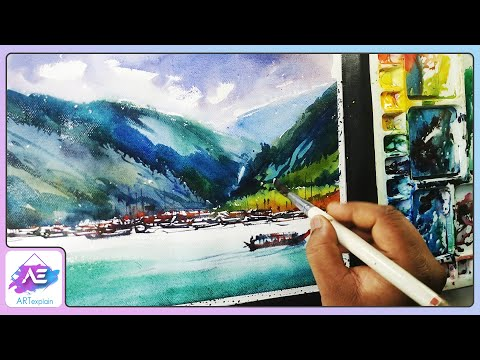 Watercolor Landscape Painting For Beginners By Art Explain