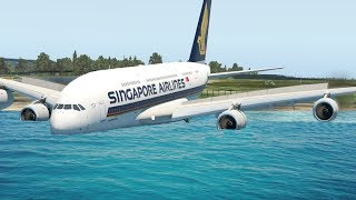 A380 Passing Runway Emergency Landing - X-Plane 11