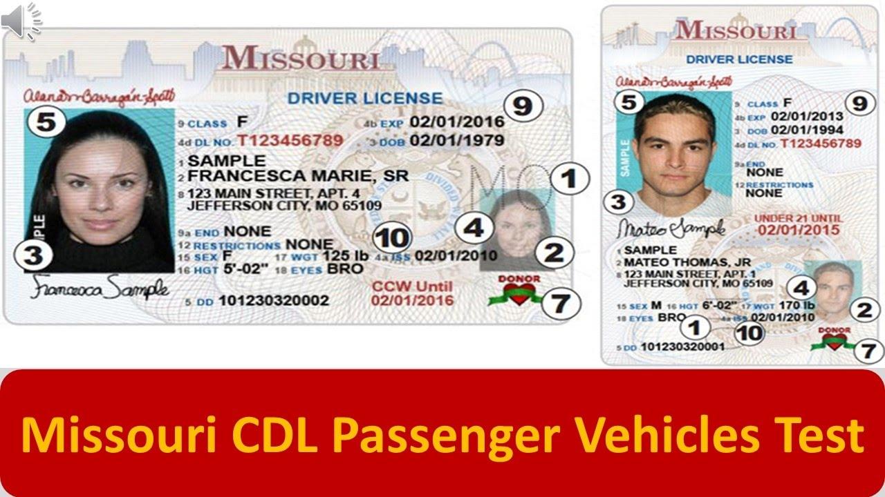 Missouri CDL Passenger Vehicles Test - YouTube