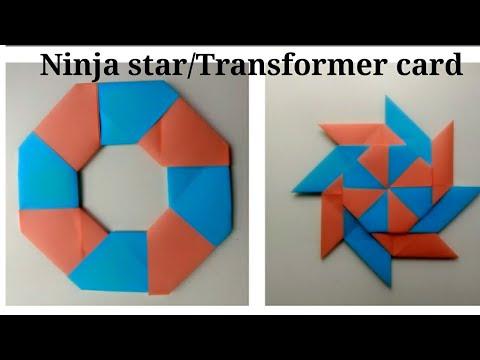 Transformer card| No glue paper craft| DIY ninja star| Origami for kids