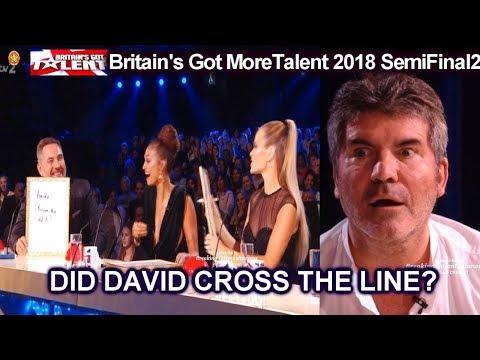 Simon Says David Crossed the Line in A Quiz about him Britain's Got Talent 2018 Semi Final 2 S12E09