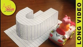 How to Draw 3D Letter J - Draw the Letter J in 3D - 3D Drawing - Easy Trick Art - Long Video -