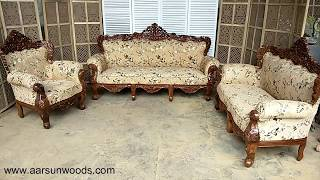 #40 Classic Sheesham Sofa Set & Couch | Hand Carved Wooden Furniture Design Ideas By Aarsun