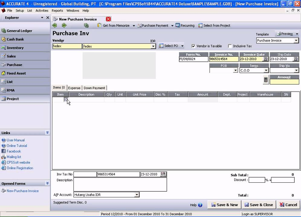 Faktur Pembelian Import Accurate Accounting Software Youtube