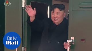 Kim Jong Un waves from heavily armoured train ahead of Trump meeting