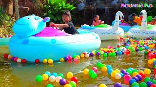 Download lagu Aksi Lucu Bermain Odong Odong Air Bentuk Hewan & Main Water Ball