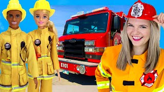 Fire Story For Kids   Barbie And Ken Firefighters & Firetruck   Speedie DiDi Toddler Learning Video