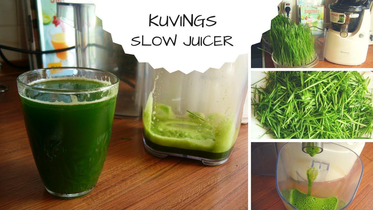 Grüne Gräser entsaften  mit dem Kuvings slow juicer