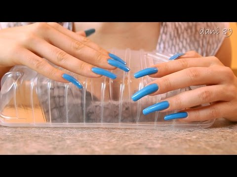 ASMR : tapping&scratching with my Long Natural light blue Nails on plastic