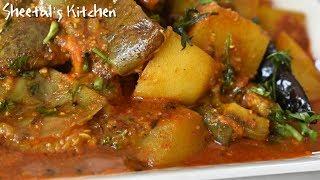 चटाकेदार गुजराती रिंगन-बटटा नू टेस्टी शाक-गुजराती आलू बैगन की सब्जी - Eggplant-potatoes curry recipe