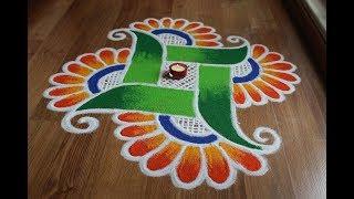 Attractive swastik rangoli design for Diwali    Dhanteras special diwali rangoli designs