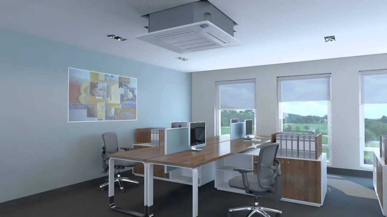 Ceiling Cassete Air Conditioner In An Office 3d