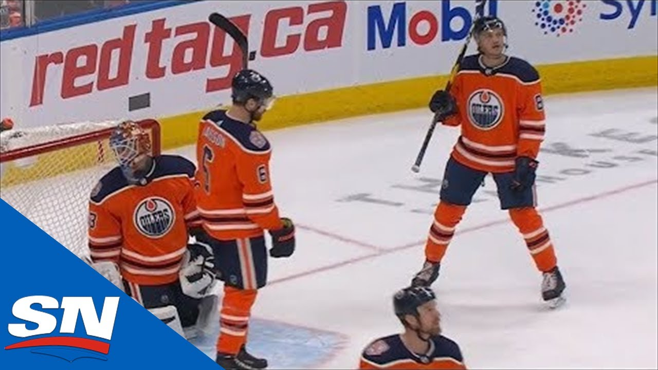 Edmonton Oilers Score Own Goal After Puck Takes Two Unlucky Bounces
