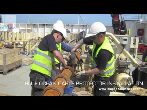 Installation of Blue Ocean Cable protectors at UK Offshore Windfarm