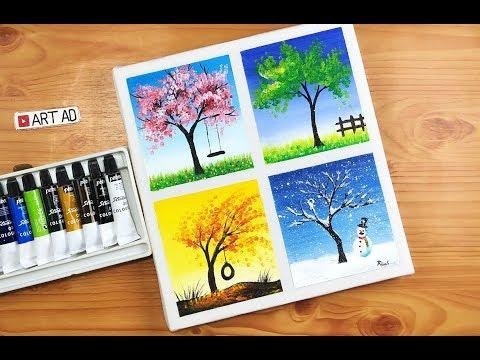 Art painting #2/ Acrylic/ Four seasons painting/ Vẽ tranh bốn mùa