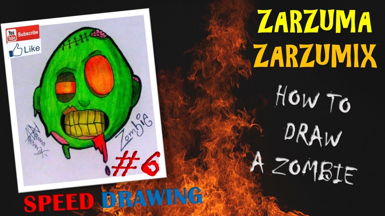 Speed Drawing How To Draw A Zombie Face Easy And Fast N�6
