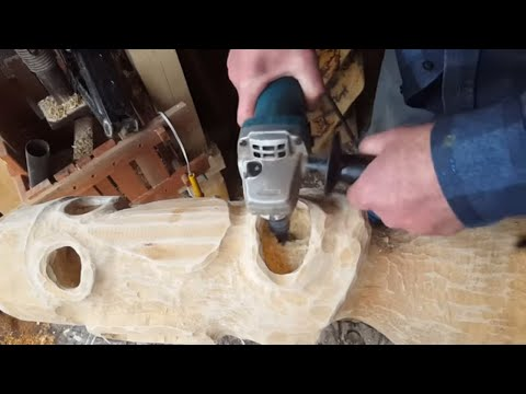 Power Carving A Wooden Head - Cell Phone Holder - Lamp