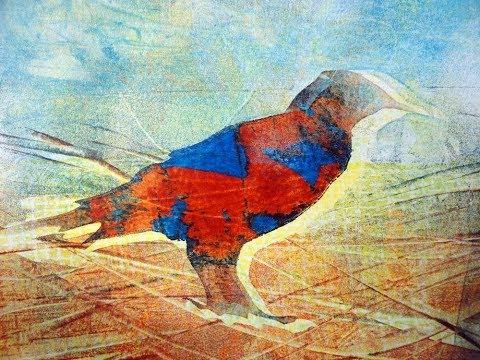 Monotypie Gelatinedruck Serie -  Vogel, Monotype Gelatine Print Series   Bird