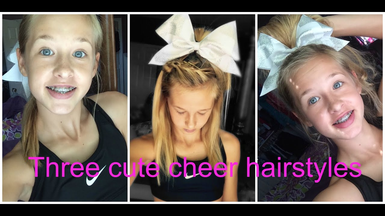 Three Cute And Easy Cheer Hairstyles YouTube