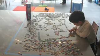 3 Year Old Completing a 1000-Piece Puzzle