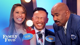Steve Harvey finds out why Vicki fell for Thai! | Family Feud